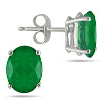 All-Natural Genuine 6x4 mm, Oval Emerald earrings set in 14k White Gold