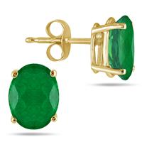 All-Natural Genuine 6x4 mm, Oval Emerald earrings set in 14k Yellow gold