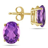 All-Natural Genuine 7x5 mm, Oval Amethyst earrings set in 14k Yellow gold
