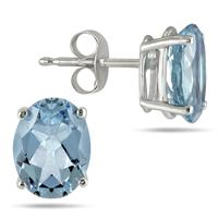 All-Natural Genuine 7x5 mm, Oval Aquamarine earrings set in 14k White Gold