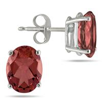 All-Natural Genuine 7x5 mm, Oval Garnet earrings set in 14k White Gold