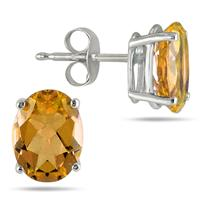 All-Natural Genuine 8x6 mm, Oval Citrine earrings set in 14k White Gold