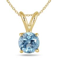 All-Natural Genuine 4 mm, Round Aquamarine pendant set in 14k Yellow gold