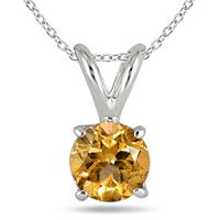 All-Natural Genuine 4 mm, Round Citrine pendant set in 14k White Gold