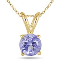 All-Natural Genuine 5 mm, Round Tanzanite pendant set in 14k Yellow gold