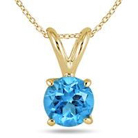 All-Natural Genuine 6 mm, Round Blue Topaz pendant set in 14k Yellow gold