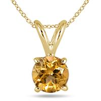 All-Natural Genuine 7 mm, Round Citrine pendant set in 14k Yellow gold