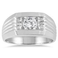 3/4 Carat Men's Diamond Solitaire Ring in 10K White Gold