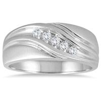 1/3 Carat TW Five Stone Diamond Men's Ring in 10K White Gold