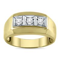 1/4 Carat Men's Diamond Ring in 10K Yellow Gold