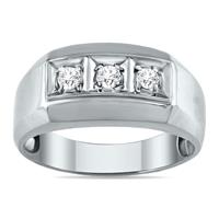 1/4 Carat TW Men's Three Stone Round Diamond Ring in 10K White Gold