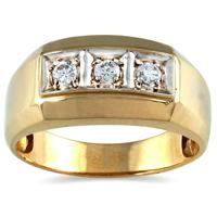 1/4 Carat TW Men's Three Stone Diamond Ring in 10K Yellow Gold