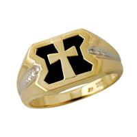 Diamond and Onyx Men's Cross Ring