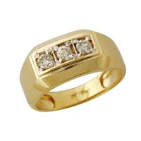 Three Stone Mens Diamond Ring 10k Yellow Gold