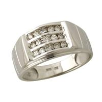 Diamond Mens Ring in White Gold
