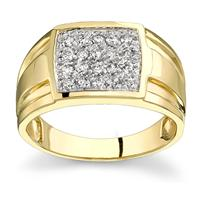 10k Yellow Gold Diamond Men's Ring