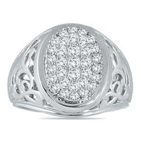 1.00 Carat TW Engraved Men's Diamond Ring In 10K White Gold