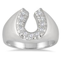 1/4 Carat Horseshoe Diamond Men's Ring in 10K White Gold