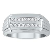 1/2 Carat Diamond Men's Double Row Channel Set Ring in 10K White Gold