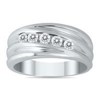 1/2 Carat Five Stone Diamond Men's Ring in 10K White Gold