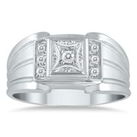 1/8 Carat TW Men's Diamond Ring in 10K White Gold