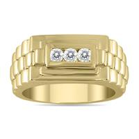 1/4 Carat TW Men's Diamond Rolex Ring in 10K Yellow Gold