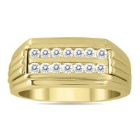 1/2 Carat Diamond Men's Double Row Channel Set Ring in 10K Yellow Gold