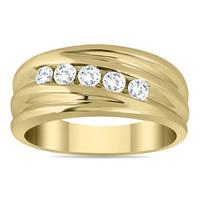 1/2 Carat Five Stone Diamond Men's Ring in 10K Yellow Gold