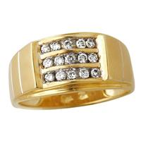 Men's Channel Set Ring in 10kt Yellow Gold