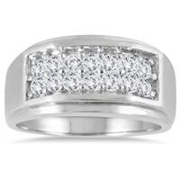 1 Carat Diamond Men's Ring in 10K White Gold