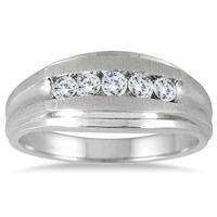 1/2 Carat Five Stone Diamond Men's Ring in 10K White Gold