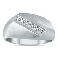 1/4 Carat Diamond Men's Ring in 10K White Gold
