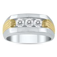 1/2 Carat Diamond Men's Ring in 10K Two Tone Gold