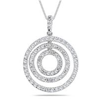 Platinum Plated 3 Stone Diamond Circle Pendant