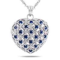 1.00 Carat Sapphire Heart Pendant in Sterling Silver