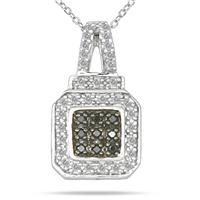 Black and White Diamond Pendant in Sterling Silver