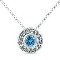 3/8 Carat Blue and White Diamond Bezel Pendant in 10K White Gold