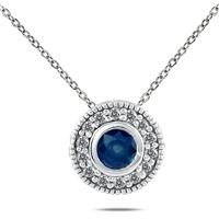 1/6 Carat TW Diamond and Sapphire Pendant in 10K White Gold