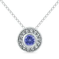 1/6 Carat TW Diamond and Tanzanite Pendant in 10K White Gold