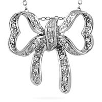 1/10 Carat Diamond Bow Pendant in .925 Sterling Silver