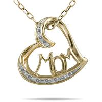 1/10 Carat TW MOM Diamond Heart Pendant 10K Yellow Gold