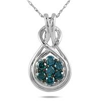 1/2 Carat TW Blue Diamond Pendant in 10K White Gold