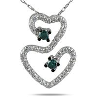 1/5 Carat Blue and White Diamond Heart Pendant in 10K White Gold
