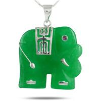Classic Elephant Green Jade Pendant in .925 Sterling Silver Pendant