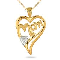 MOM Diamond Heart Pendnat 14K Yellow Gold