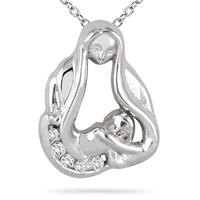Baby with Mom Diamond Pendant 14k White Gold