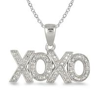 Diamond XOXO Pendant in .925 Sterling Silver