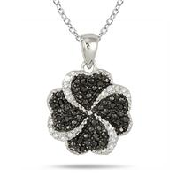 1/3 Carat Black and White Diamond Pendant in .925 Sterling Silver