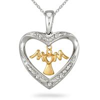 18K Gold Plated Diamond Heart MOM Pendant in .925 Sterling Silver