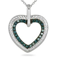 1/4 Carat TW Blue Diamond Heart Pendant in 10K White Gold